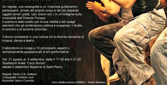Sardegna: laboratorio danza-teatro-musica ASMED/Teatro Barbaro