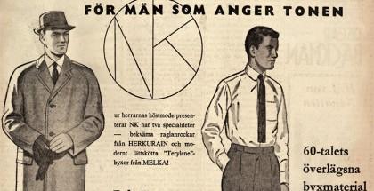 """Annuncio pubblicitario per la Nordiska Kompaniem: """"Per gli uomini che hanno un tono"""", 1960."""
