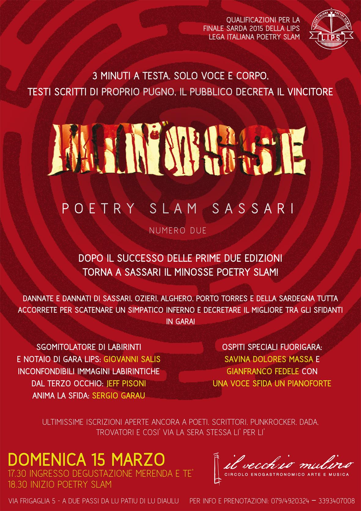 locandina_MINOSSE Poetry Slam Sassari_Venerdì 3 Maggio al Vecchio Mulino di Sassarix