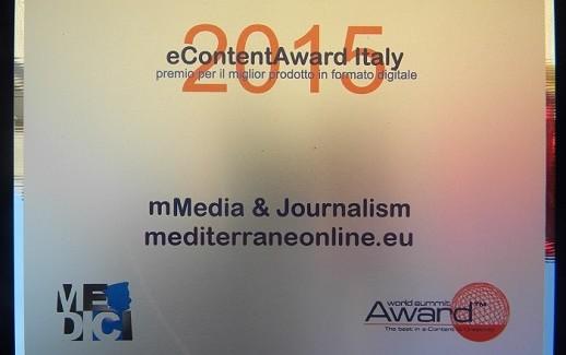 """eContent Award 2015, mediterraneaonline conquista il primo posto nella categoria """"Media e Journalism"""""""
