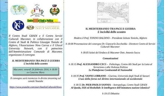 """""""Il Mediterraneo tra pace e guerra. L'inciviltà dello scontro"""", si è concluso l'importante convegno in Sardegna"""