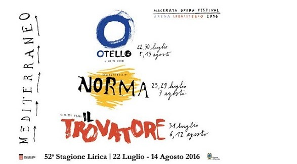 "52° Macerata Opera Festival 2016 ""Mediterraneo"""