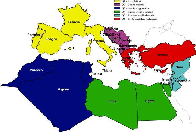 Mediterraneo Cartina.Mappa Med Mediterranea