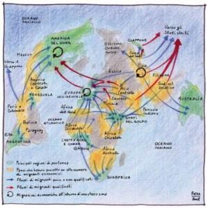 Mappa di flussi migratori