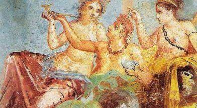 Cena di Trimalcione, affresco parietale romano