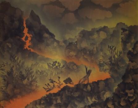 Corrado Cagli, Lava a sud-ovest, 1971, olio su tela, Roma collezione privata