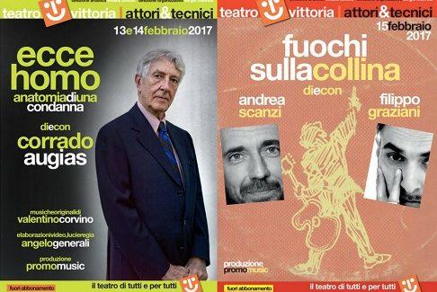 """Al Teatro Vittoria di Roma """"Ecce homo"""" di e con Corrado Augias e """"Fuochi sulla collina"""" di Andrea Scanzi e Filippo Graziani"""