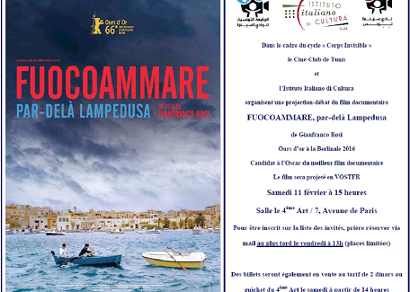 Projection du Film FUOCOAMMARE a Tunisi