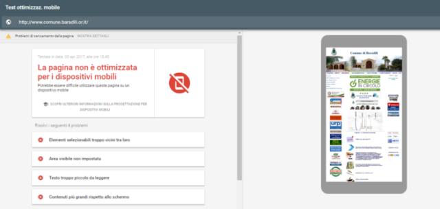 Test ottimizzazione mobile del sito di Baradili