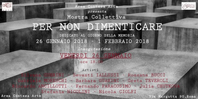 """Mostra collettiva """"Per non dimenticare"""", galleria """"Spazio Area Contesa Arte"""", Via Margutta a Roma"""