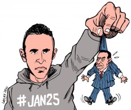 Una vignetta del periodo della rivoluzione che ritrae Khaled Said che tiene in ostaggio Hosni Mubarak
