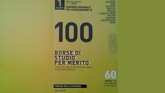 Bando per 100 Borse di Studio per l'Università Cattolica del Sacro Cuore