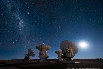 INSPIRING STARS ALMA antennas under the Milky Way