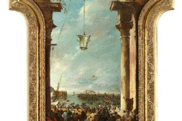 Francesco Zanin, Lanciamento della mongolfiera, Venezia (cm 134x75,5)